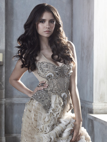 Elena Gilbert wallpaper probably containing a cena dress, a cocktail dress, and a strapless entitled nina dobrev