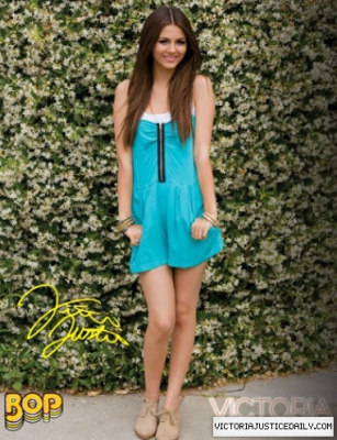 Victoria Justice wallpaper possibly containing a playsuit, salopette corta titled Bop/Tiger Beat