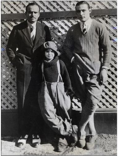 Douglas Fairbanks, Jackie Coogan and Rudolph Valentino