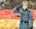 Germany saluting his flag!