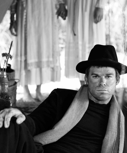 Michael C. Hall wallpaper containing a fedora, a boater, and a snap brim hat titled Michael C Hall Photoshoot for Bullett Magazine