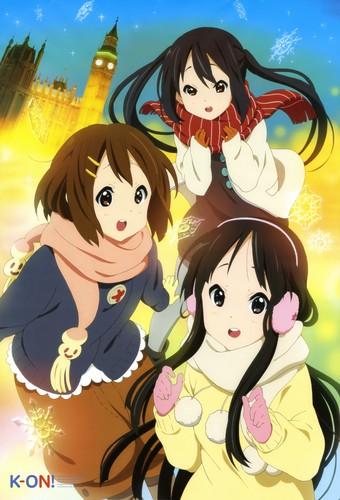 K-ON! wallpaper containing anime entitled mio, yui & azusa
