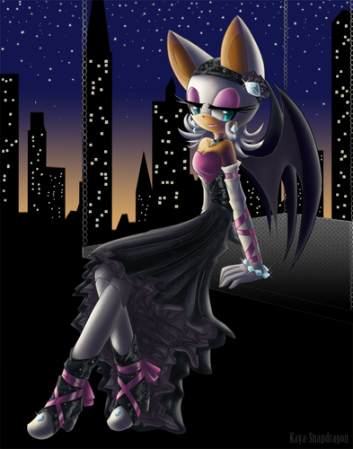 ROUGE THE BAT kertas dinding entitled night beauty