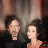 Helena Bonham Carter/Tim Burton photo probably with a fountain and a portrait titled tim & helena