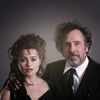 Helena Bonham Carter/Tim burton photo probably with a business suit and a suit called tim & helena