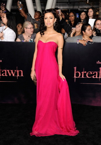 Christian Serratos achtergrond containing a avondeten, diner dress entitled 'The Twilight Saga: Breaking Dawn Part 1' Los Angeles Premiere [14.11.11]