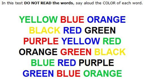 A colour word test