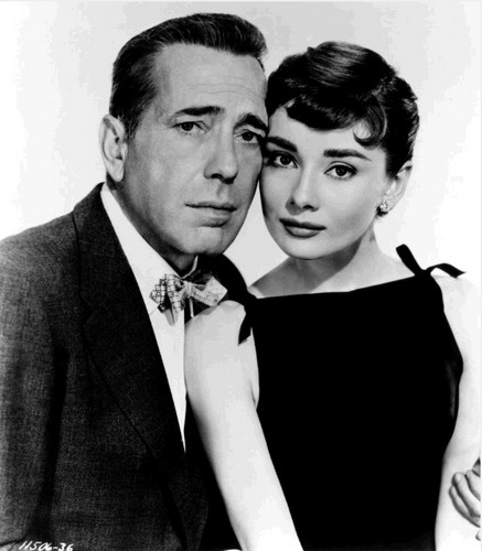 Sabrina (1954) Обои probably containing a business suit entitled Audrey and Bogart