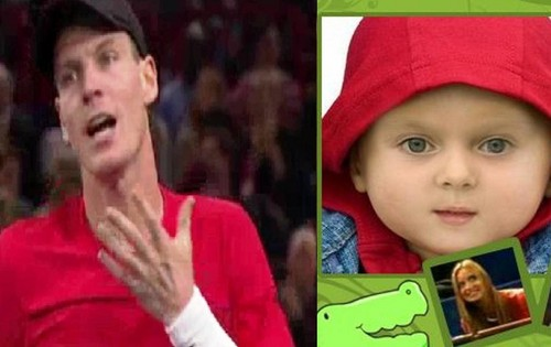 Berdych child same colour clothing :-)
