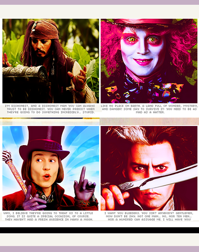 Captain Jack-Mad Hatter-Willy Wonka-Sweeney Todd