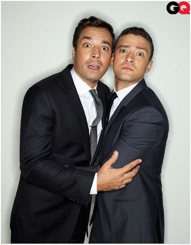 Justin Timberlake wallpaper possibly with a business suit and a suit called GQ Photoshoot with Jimmy Fallon