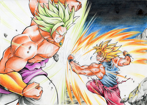 Dragon Ball Z kertas dinding probably containing Anime entitled Goku vs Broly