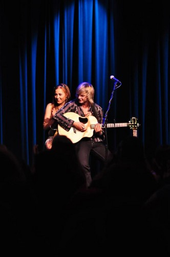 Keith: Myself and @RebeccaHarkin Doing the gig in AETN Little Rock.... Pic kwa candice rukes.... 8)