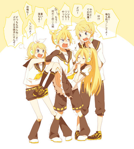 Len, Rin and Me fighting while Lenka is asleep in Len's arms!