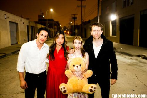 Michael Trevino photoshoot for Tyler Shields with Jenna Ushkowitz and Emma Roberts