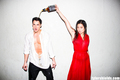 Michael Trevino photoshoot for Tyler Shields with Jenna Ushkowitz and Emma Roberts