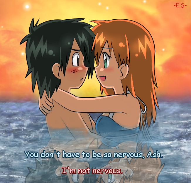 ash and misty kiss the girl № 334767