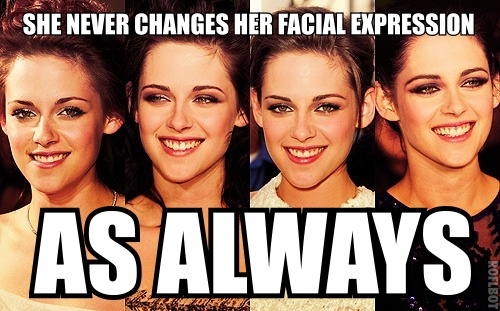 She never changes her facial expression... as always?