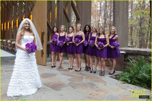 Demi Lovato wallpaper probably containing a bridesmaid and a gown called Tiffany Thornton Wedding Party - November 12