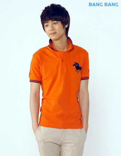 Kang Min Hyuk 壁纸 probably with a leisure wear, a jersey, and a short sleeve titled min huk