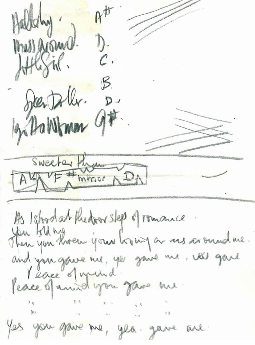 A sheet of lyrics for unreleased Beatles song written by