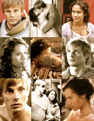 Arthur und Gwen Hintergrund probably with a portrait entitled Arthur and Guinevere - A Legendary Liebe