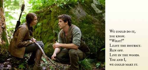 Captioned দেওয়ালপত্র Picture of Katniss and Gale in the Woods