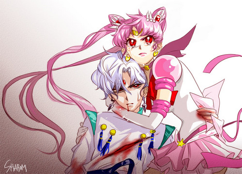 Eternal Sailor Chibi Moon and Helios