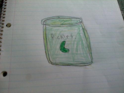 I drew a jeruk, pickle jar.............................