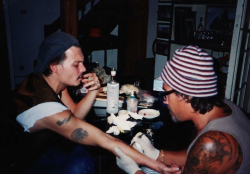 Johnny Depp getting tattooed by Jonathan Shaw