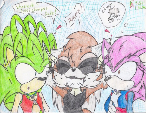 Manic and Sonia Meet Evolia - manic-the-hedgehog Fan Art