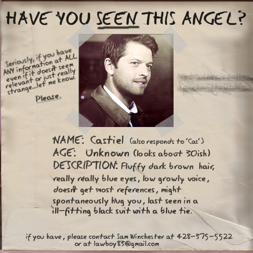 Supernatural wallpaper probably with a newspaper and anime entitled Missing Angel