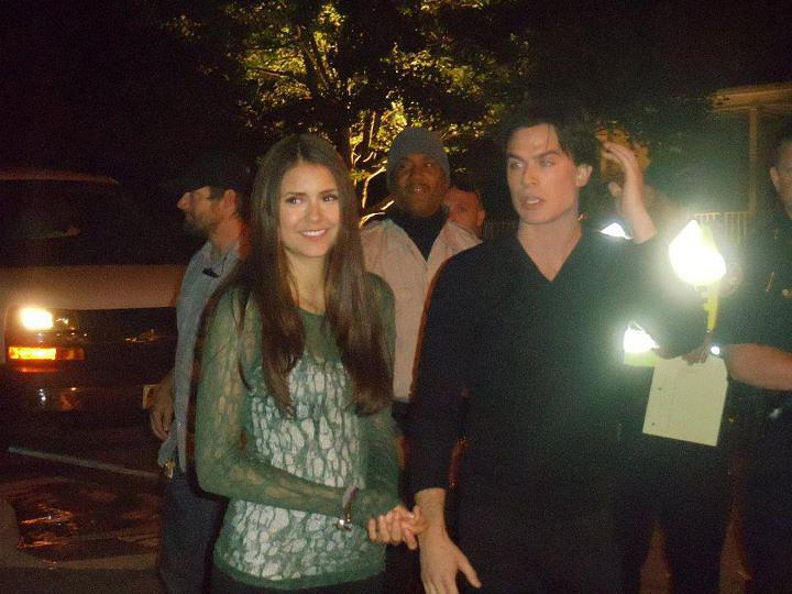 Nian on Set of The Vampire Diaries - ian-somerhalder-and-nina-dobrev photo