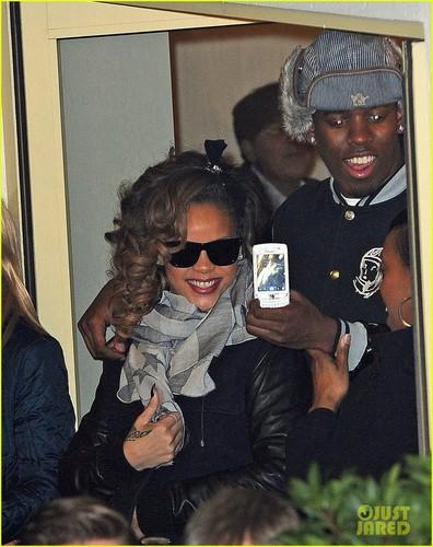 Rihanna at the X Factor studios on Sunday night (November 20) in London