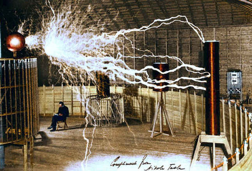 Tesla in his lab in Colorado, 1899
