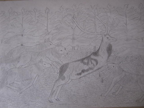 Drawing দেওয়ালপত্র containing a cat and a kitten called The নেকড়ে Hunt