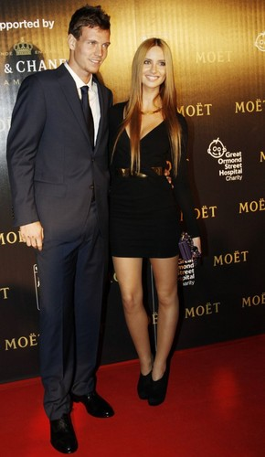 Tomas Berdych arrived at a charity party with girlfriend Ester Satorova