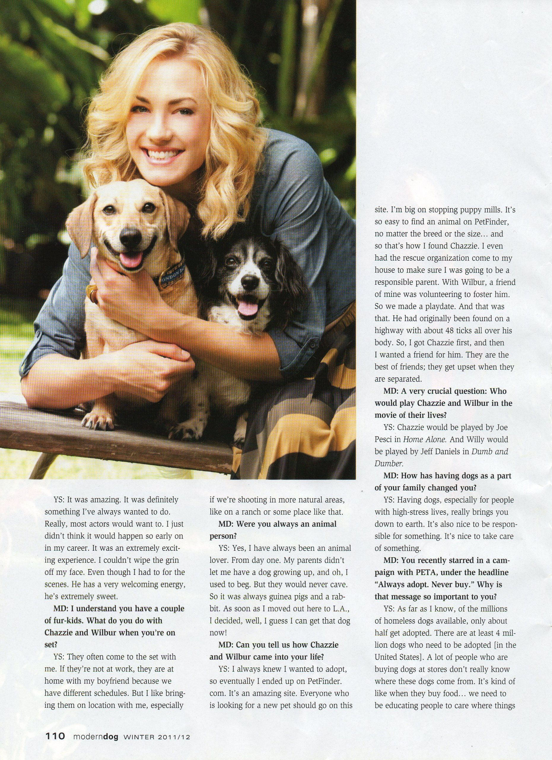 Yvonne Strahovski in the Winter 2011/2012 Issue of 'Modern Dog'