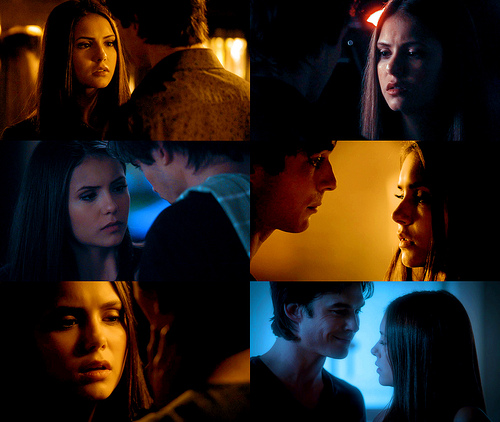 elena looking at damon's lips