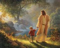 Jesus walking with child