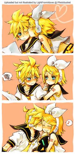 Rin und Len Kagamine Hintergrund with Anime entitled rin and len kawaii
