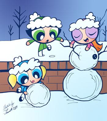 Les Super Nanas fond d'écran containing animé titled wintertime
