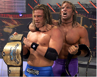 Curt Hawkins With Zack Ryder Right After Winning The WWE Tag Team Championships