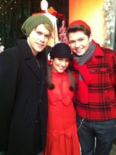 Damian with Chord Overstreet and Lea Michele