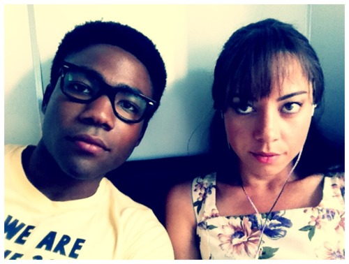 Donald Glover and Aubrey Plaza