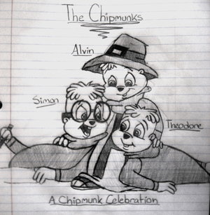 Alvin and the Chipmunks wallpaper possibly with a newspaper and anime entitled Happy Thanksgiving!