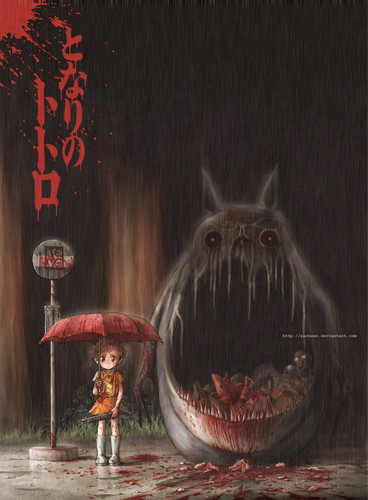 Studio Ghibli achtergrond containing a fontein titled Horror version of My Neighbor Totoro