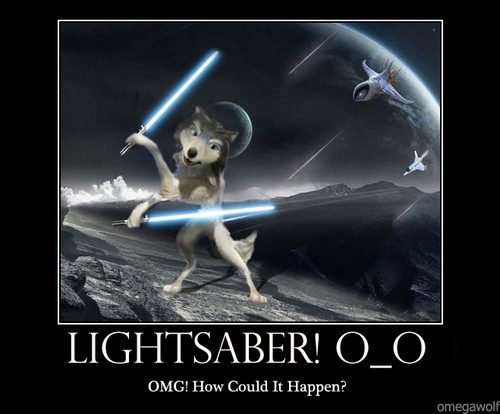 Humphrey with lightsaber!!