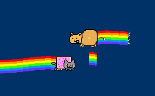 Nyan Cat দেওয়ালপত্র entitled Nyan cat and Nyan dog