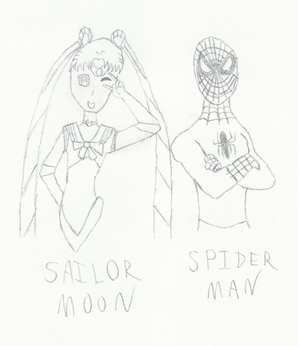 Spider Man and Sailor Moon - spider-man Fan Art